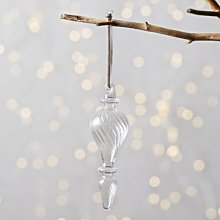 Glass Drop Christmas Decoration, Clear, One Size