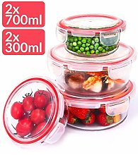 Glass Food Storage Containers with Lid Round –