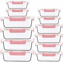 Glass Food Storage Containers with Lids - 12 Piece