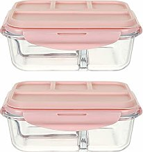 Glass Food Storage Set, 2 Packs Glass Meal Prep