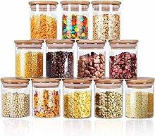 Glass Jars Set 250ml,Yibaodan 12 Set Upgrade Spice