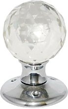 Glass Mortice Ball Door Knob Chrome Plated