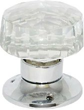 Glass Mortice Faceted Door Knob Chrome Plated
