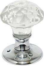 Glass Mortice Solitaire Door Knob Chrome Plated