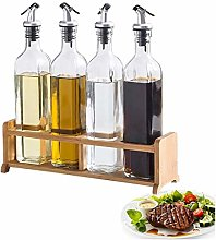 Glass Olive Oil Bottle Dispenser Set with Wood