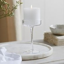 Glass Pillar Small Candle Holder, Clear, One Size