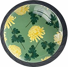 Glass Round Cabinet Knobs Flower Yellow for Home