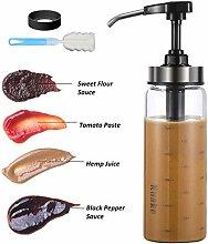 Glass Sauce Dispenser Bottle, Leakproof Condiment