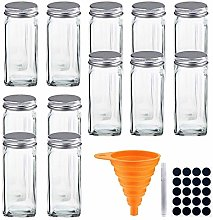 Glass Spice Jars with Shaker Lids- Square Spice