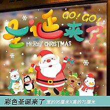 Glass Sticker Santa Color Christmas