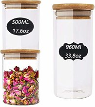 Glass Storage Jars with Bamboo Lids, Air Tight