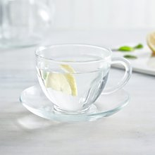 Glass Tea Cup & Saucer, Clear, One Size