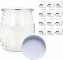 Glass Yogurt Maker Cups with Lids Pack of 12