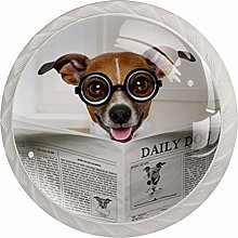 Glasses Dog Brown 4 Pieces Crystal Glass Wardrobe