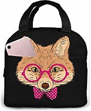 Glasses Fox Valentine's Day Lunch Bag Tote