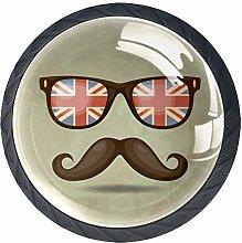 Glasses Mustache Crystal Drawer Handles Furniture