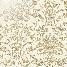 Glistening Damask Wallpaper Cream YöL Metallic