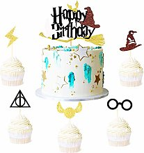 Glitter Black Magical Wizard Inspired Cake Topper