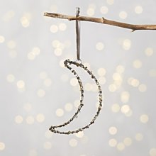 Glitter Moon Christmas Decoration, Silver, One Size