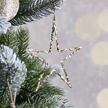 Glitter Star Christmas Decoration, Silver, One Size