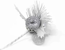 Glittered Pick Decoration- Silver