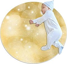 Glittery gold, Kids Round Rug Polyester Throw Area