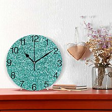 Glittery Teal Turquoise Round Wall Clock, Silent