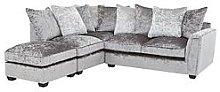 Glitz Left-Hand Fabric Corner Chaise Sofa -