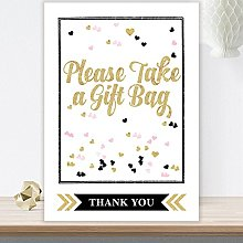 Glitzy Glam Party Favour Gift Bag Table Sign