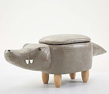 GLLCYL Leather Animal Footstool, Wooden Storage