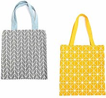 GLOBALDREAM Canvas Tote Bag, 2pcs Double Sided