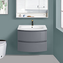 Gloss Grey Bathroom Curved Vanity Basin Unit Wall