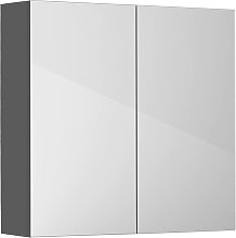 Gloss Grey Bathroom Mirror Cabinet Wall Storage