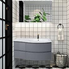 Gloss Grey Bathroom Vanity Basin Unit Wall Hung