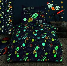 Glow in the Dark Space Bedding Set Quilt Cover and