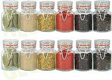 Glow Set of 12 Glass Spice Jars – Stylish Pack