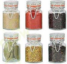 Glow Set of 6 Glass Spice Jars – Stylish Pack of