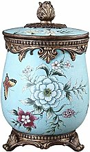 GLP Small Trash Can with Lid,Vintage Carved Waste