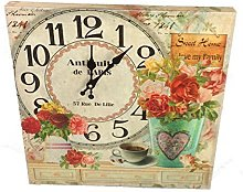 GMMH Wall 40 x 40 cm Wooden Roses Kitchen Clock