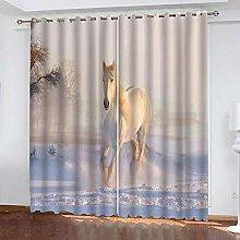 GMULMC Blackout Curtains Animal horse snow scene