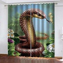 GMULMC Blackout Curtains Garden animal snake