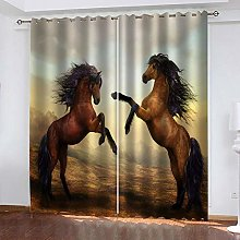 GMULMC Blackout Curtains Prairie brown animal