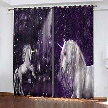 GMULMC Blackout Curtains Purple starry sky animal