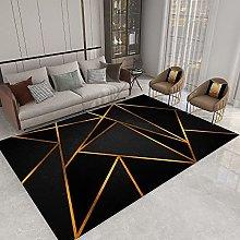 GNLK Bedroom Rug, Modern Blue Striped Geometric