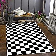 GNLK Large Rug, Modern Black White Checkered