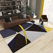 GNLK Large Rug, Modern Black Yellow Abstract