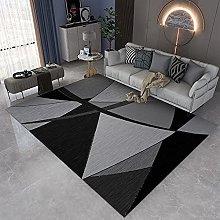 GNLK Living Room Rug, Modern Black Yellow Abstract