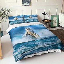 GNNSITT bed covers double set Shark animal blue