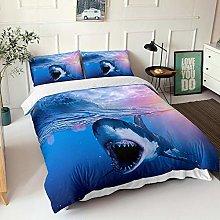 GNNSITT bedding Shark animal blue ocean 155x200cm