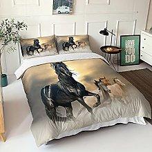 GNNSITT double bedding set Black animal horse